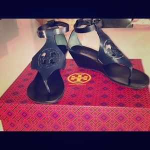Tory Burch Zoey Navy Wedge Sandal